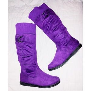 💜 Purple Suede Fall/Winter Fashion Boots, Size 8